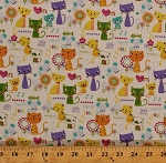 Cotton Colorful Kittens Cats Pets Flowers Mouse Mice Fish Bones Words Meow Squeak Paws and Play Kids Children's Girls Cream Cotton Fabric Print by the Yard (3982-47990-multi)