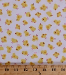 Cotton Yellow Chicks on White Cute Baby Ducks Ducklings Barnyard Fowl Birds Farm Animals Country Kids Cotton Fabric Print by the Yard (KIDZ-c9944-white)