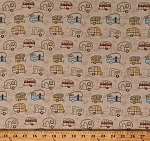 Cotton Campers Trailers Camping Vacation Travel Transportation Vehicles Retro Quilt Light Khaki Minnesota Shop Hop Cotton Fabric Print by the Yard (Y1992-11)