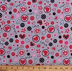Cotton Love Hearts and Flowers So Sweet Love Red Pink Gray Valentine's Day Girls Cotton Fabric Print by Yard (R37-9663-0144)