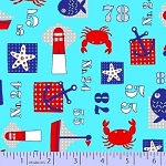 Cotton Lighthouses Sailboats Anchors Crabs Starfish Fish Numbers Sailing Sailors Ocean Nautical Sea Ocean Water Barnegat Bay Blue Cotton Fabric Print by the Yard (r37-9580-0120)