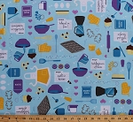 Cotton Baked With Love Baking Cooking Kitchen Supplies Utensils on Blue Cotton Fabric Print by the Yard (amf-14418-77-blueberry)