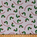 Cotton The Very Hungry Caterpillar Caterpillars Insects Bugs Words Eric Carle Kids Children's Cotton Fabric Print by the Yard (A-7762-G)