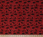 Cotton High Adventure Arrows Deer Moose Buffalo Bison Bears Animals Trees Teepees Tents Wilderness Wildlife Hunting Outdoors on Red Wood Pattern Cotton Fabric Print by the Yard (c5550-red)