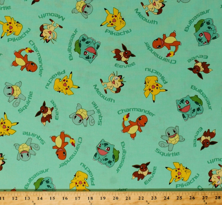 Cotton original pokemon characters with names pikachu for Children s character fabric
