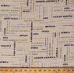 Cotton Country Names Countries Continents Titles Oceans Words Travel Geography Meridian Cotton Fabric Print by the Yard (50036-1)