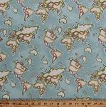 Cotton World Map Maps Continents Countries Oceans Travel Nautical Meridian Cotton Fabric Print by the Yard (50035-2)