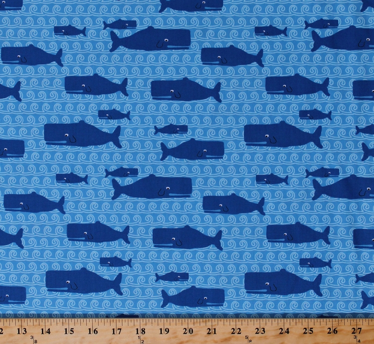 Cotton blue whales waves cute sea animals kids children 39 s for Childrens cotton fabric by the yard