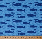 Cotton Blue Whales Waves Cute Sea Animals Kids Children's Don't Be Crabby Ocean Blue Cotton Fabric Print by the Yard (awn-13244-59)