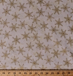 Cotton Snowflakes Snow Winter Holidays Festive Gold Metallic Shimmer Sparkles Tonga Cream Cotton Fabric Print by the Yard (bm1601-sparkle)