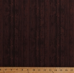 Cotton Barn Wood Wooden Boards Floorboards Planks Timber Lumber Building Houses Wall Carpenter Carpentry Dark Brown Ranch Hands Cotton Fabric Print by the Yard (42584-3)