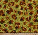 Cotton Vincent Van Gogh's Sunflowers Flowers Allover Artist Art Museum Painting Yellow Brown Green Cotton Fabric Print by the Yard (avg-15873-125)