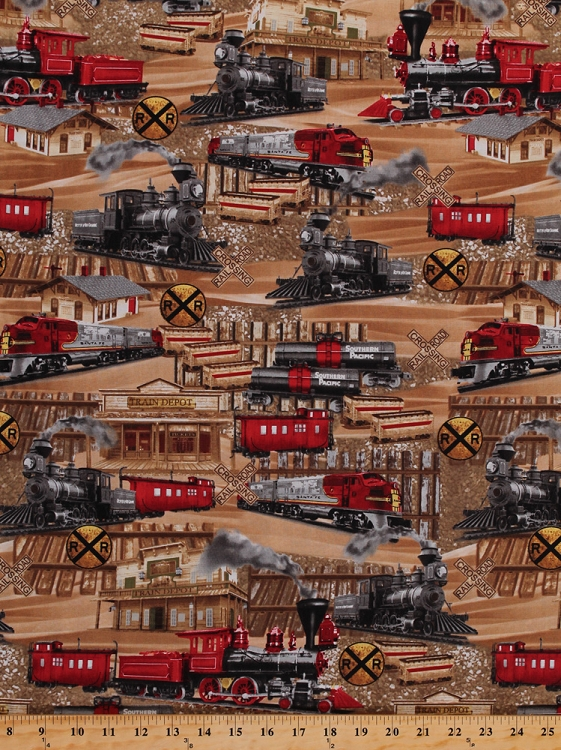 Cotton trains tracks railroads railway signs train engines for Train print fabric
