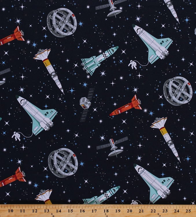 Cotton stars outer space astronauts spacecraft ships for Outer space fabric by the yard