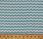 Cotton Seaside Holiday Choppy Waters Waves Stripes Ocean Sea Nautical Blue White Cotton Fabric Print by the Yard (04125-09)