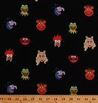 Cotton The Muppets Characters Faces Portraits Miss Piggy Kermit the Frog Fozzie Gonzo Animal Beaker The Muppet Show Puppets Disney Kids Cotton Fabric Print by the Yard (63188-A620715)