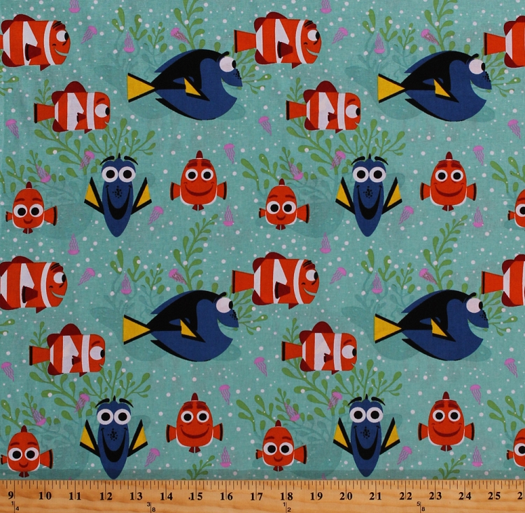 Cotton finding dory characters marlin nemo clownfish fish for Kids character fabric