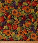 Cotton Harvest Pumpkins Grapes Grape Clusters Apples Blackberries Sunflowers Fruits Leaves Flowers Floral Autumn Fall Thanksgiving Metallic Shimmer Glitter Shades of the Season 6 Cotton Fabric Print by the Yard (srkm-13707-191-AUTUMN)