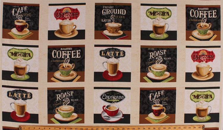 Fabrics 24 X 44 Panel Coffee Drinks Squares Hot Beverages Espresso Cuccino Latte Cafe Cups Mugs Types Kinds Names Caffeine Barista