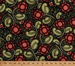 Cotton Large Flowers Blossoms Blooms Buds Botanical Garden Berry Berries Leaves Vines Circles Red Green Floral on Black Julen by Julie Paschkis Cotton Fabric Print by the Yard (1jpa-1)