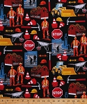 Cotton Construction Workers Construction Site Safety Zone Building Stop Signs Bulldozers Wheelbarrows Hammers Caution Cones Hard Hats Pulleys Man Cave II Cotton Fabric Print by the Yard (05881-12)