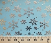 Flocked Metallic Snowflakes Blue Print Organza Fabric by the Yard (ds-1332)