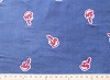 Embroidered Cleveland Indians on Light Dusty Navy MLB Baseball Fleece Fabric Print