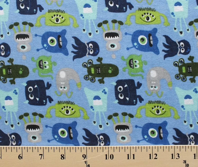 Monsters blue boy cotton flannel fabric print f2073 blue for Boys cotton fabric
