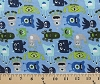Monsters Blue Boy Cotton Flannel Fabric Print (F2073-Blue)