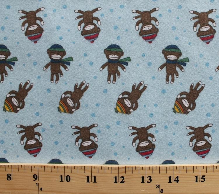 Flannel sock monkey monkeys winter apparel hats scarves for Baby monkey fabric prints
