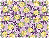 Yellow Roses on Purple Flowers Floral Blossoms Blooms Leaves Botanical Gardens Gardening Aunt Lindy's Paper Dolls Cotton Fabric Print (7174-4)