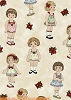 Paper Dolls Christmas Cotton Fabric Print (30859)