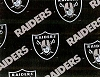 Oakland Raiders on Black NFL Pro Football Cotton Fabric Print