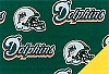 Miami Dolphins NFL Pro Football Cotton Fabric Print
