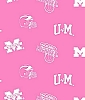 University of Michigan™ Wolverines™ on Pink College College Cotton Fabric Print