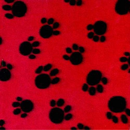 Velvafleece paws red background fleece fabric print by for Fleece fabric childrens prints