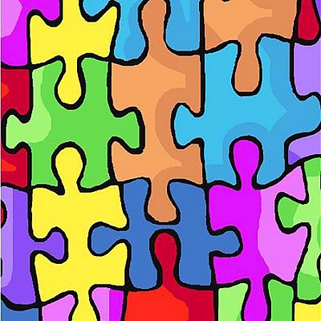 Jigsaw puzzle fleece fabric print by the yard k23973b for Children s flannel fabric by the yard