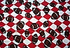 Footballs Red/White Arygle Check Fleece Fabric Print (smfp301-04h)