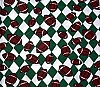 Footballs  Green/White Argyle Check Fleece Fabric Print (smfp301-16h)
