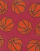 Basketballs - Burgundy Fleece Fabric Print