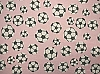 Soccer Balls with Grey Spots on Pink Fleece Fabric Print
