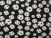 Soccer - Black with Grey Spots Fleece Fabric Print