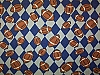 Footballs Blue/Silver Check Fleece Fabric Print (sjbmfp301-01h)