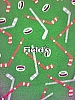 Hockey sticks and pucks on Green Fleece Fabric Print