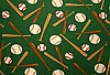 Baseballs with bats on Green Fleece Fabric Print