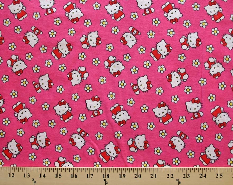 hello kitty flower toss pink girls kids cotton flannel
