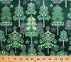 Cotton Christmas Trees Forest Woods Stars Hearts Swirls Winter Holiday Decorations Festive Green Pearl Evergreen Cotton Fabric Print by the Yard (j218-166)