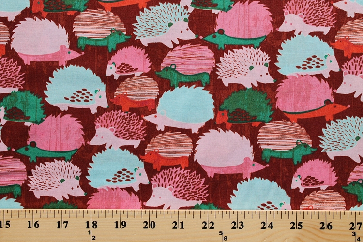 Cotton hedgehogs wildlife pets nature animals pink brown for Childrens cotton fabric by the yard