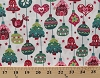 Cotton Christmas Ornaments Bells Gingerbread Houses Birds Christmas Trees Stars Winter Holidays Festive Decorations Evergreen Winter Cherry Pearl White Cotton Fabric Print by the Yard (j9219-441)