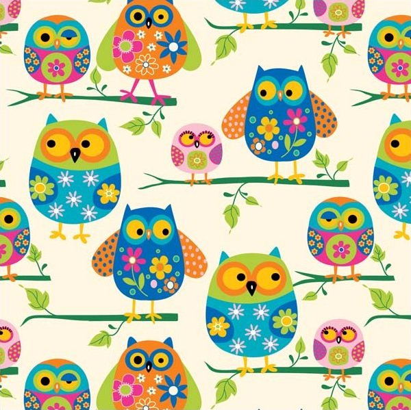 Owl colorful mom baby babies owls kids birds bird fleece for Kids fabric by the yard